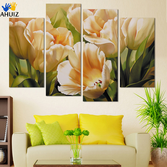 Fashion 4 Panel Wall Art Print Painting On Canvas Painting Tulip Flower  Paintings For Living Room Part 58
