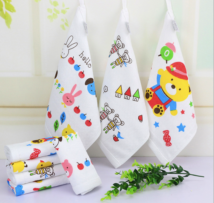 25*25cm Bibs Burp Cloths Cotton Saliva Towel Scarf Handkerchief Washcloth Baby Accessories Fashion Kerchief Lovely Smiling Face