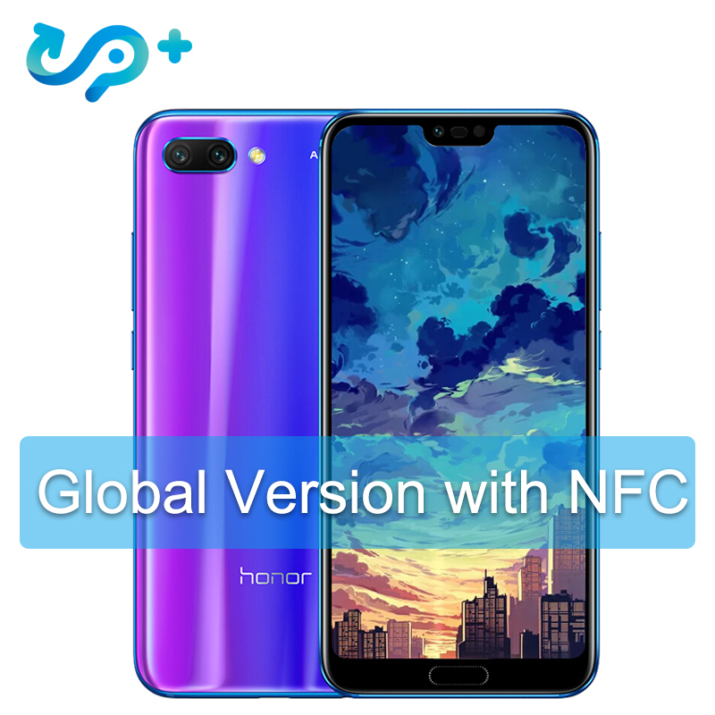 D'origine Huawei Honor 10 Mondial Version 4 GB 128 GB Portable NFC téléphone portable Android 8.1 4 * Caméra 24MP 3400 mAh QuickCharge