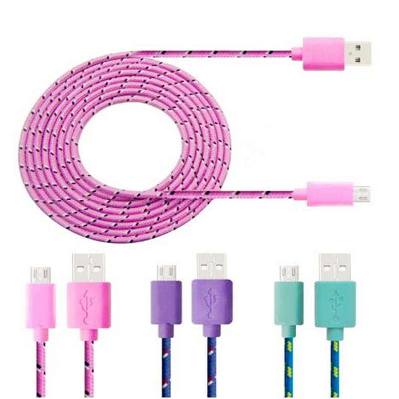 2M Braided Wire Micro font b USB b font Cable 3ft Sync Nylon Woven Charger Cords