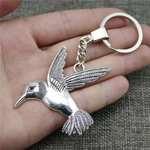 68x61mm Bird Keychain Antique Silver Vintage Handmade Party Gift Jewelry Dropshipping