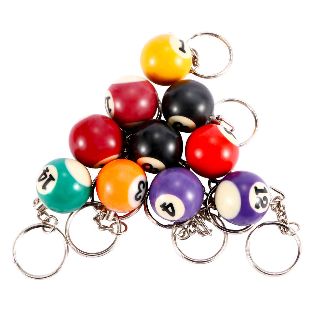 1 Pcs Unique Design Creative 25 MM Lovely Colorful Billiard Table Ball Key Ring Chain Handbag Pendant Gift