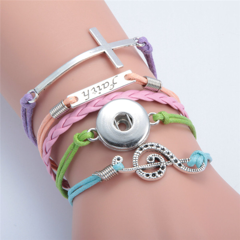 Fashion Cross Faith Music Note Leather Metal Diy 18mm Snap Button Interchangeable Bangles Jewelry Snaps Mulitlayer Bracelet