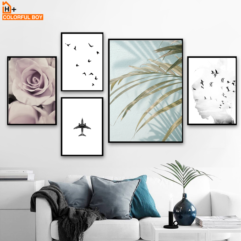 Leaf Rose Girl Bird Aircraft Landscape Wall Art Canvas Painting Nordic Posters And Prints Pictures For Living Room Decor