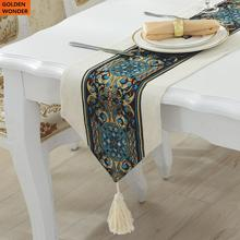 Modern Simple European Luxury Linen Embroidered Table Cloth Runner Mediterranean Runners Home Textile High Quality