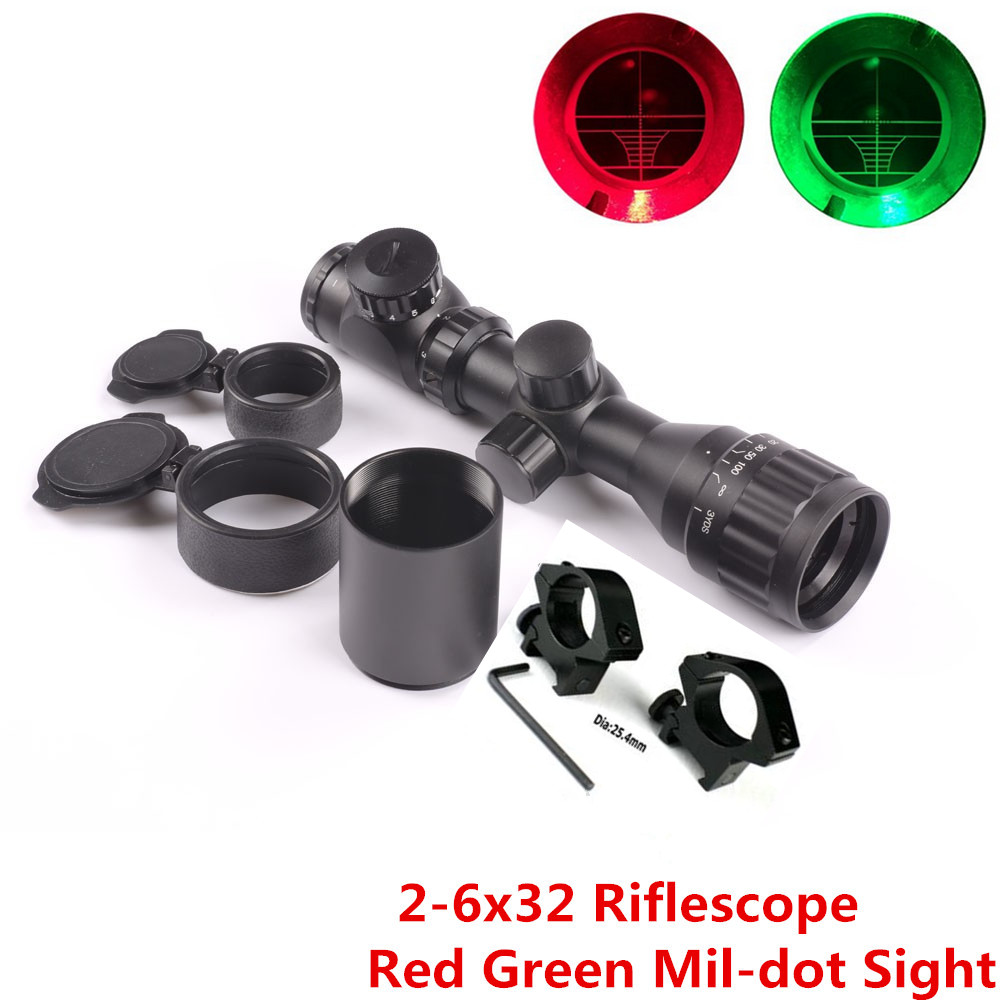 Hunting Rifle Scope 2-6x32 AOE Red Green Mil-dot Short Adjustable Sight Scope with Picatinny Rail Mount 20mm Sunshade Tube Lens 4x 30mm red green mil dot reticle rifle scope with gun mount black 3 x ag13 1 x cr2032