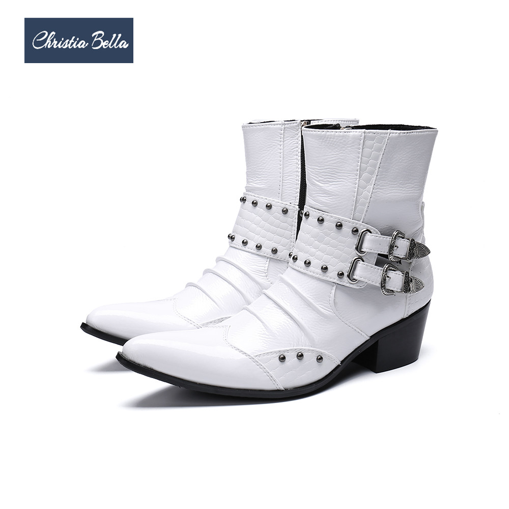 Christia Bella Fashion White Genuine Leather Men Boots Buckle Rivets Men Ankle Boots Plus Size Pointed Toe Cowboy Boots Male