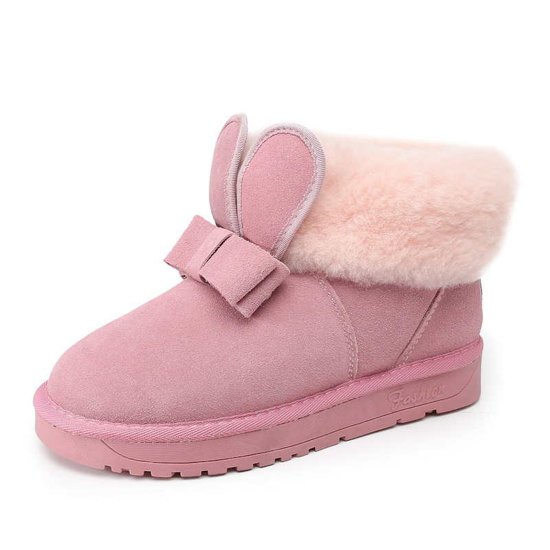 Snow boots women short tube 2017 winter new rabbit ears bow Korean version of wild pink cute warm students snow shoes майка классическая printio raccoon killer