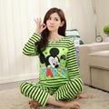 Mulheres Pijama Define Promoção 2016 Casual Manga Comprida O Pescoço Da Senhora Pijamas de Algodão Mulheres Sleepwear Outono Padrão Lábios Roupa de Dormir