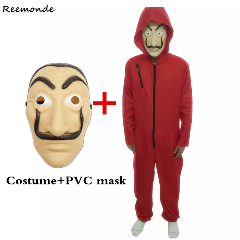Adult Salvador Dali Movie Cosplay Costume	 Masque Dali De Papel Face Fancy Red Jumpsuit Clothes Mask Halloween Party Men Boys