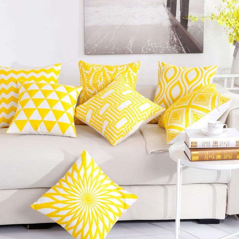 Black Yellow Geometric Printed Decorative Pillow Cover Throw Pillows Cotton Linen Cushion Cover 45*45 Pillowcase 40571-2 Home Textile