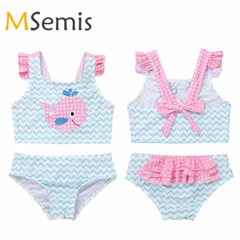 MSemis Kids Girls 2 Pieces Swimsuit Shiny Metallic Swimming Costumes Fashion Bikini Tops and Bottoms Bathing Suit