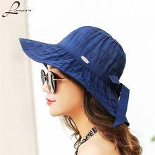 Lanxxy verano clásico sombreros mujeres plegable playa Sol sombrero Birm  chapeau Panamá(China) facf932088c