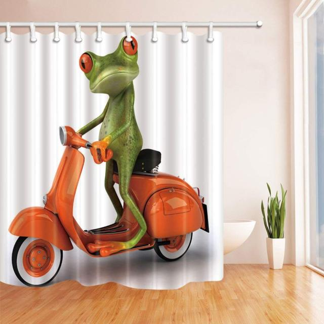 Printing Animals Frog Riding A Orange Motorcycle Shower Curtain Fabric Bathroom Decorations Bath Curtains