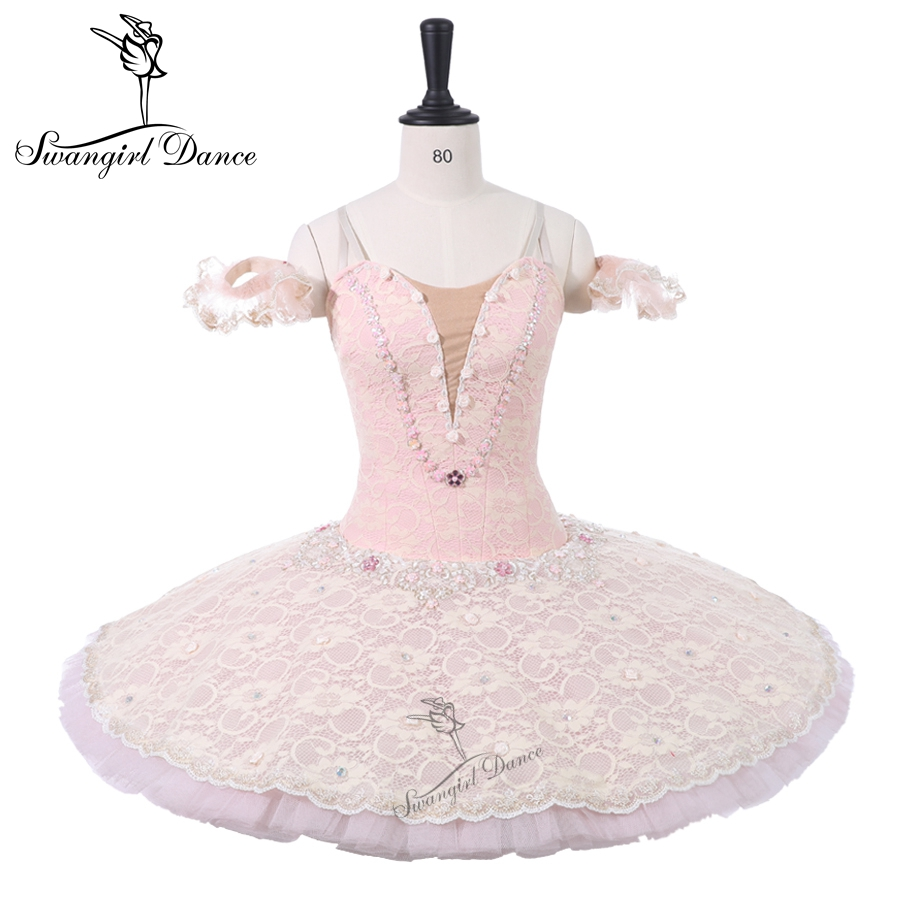 Pale Pink Flower Fairy Professional Competition Ballet Stage Tutu Child Sleeping Beauty Performance Classical Tutus Women BT9216