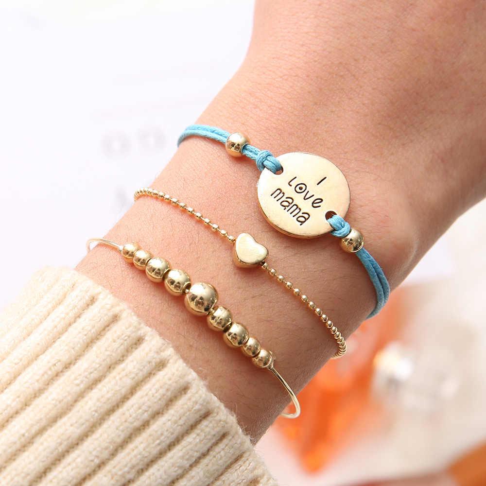 3 יח'\סט בוהמי קלאסי לב כחול חבל אני אוהב את אמא מכתב ארוג זהב חרוזים צמיד סט תכשיטי נשים אמא מתנה