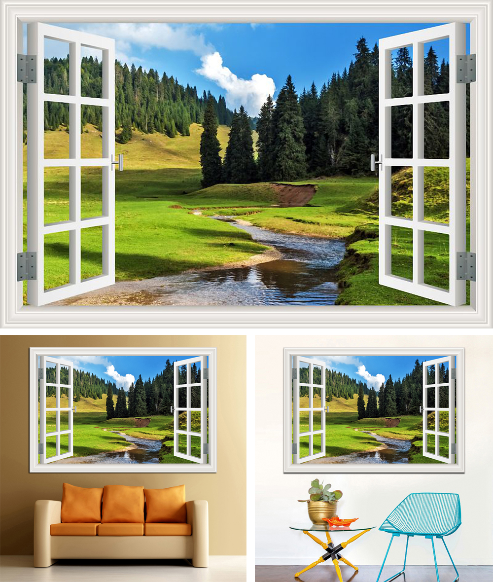 Reputable Window View Home Decor Forest Tree Wall Sticker Removable Window View Landscape Windows 10 Landscape S Windows 7 Landscape S Product Details outdoor Window Landscape Pictures