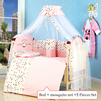Multi functional Eco friendly baby crib solid wood non paint infant bed child game entertainment cradle bed with large shelf