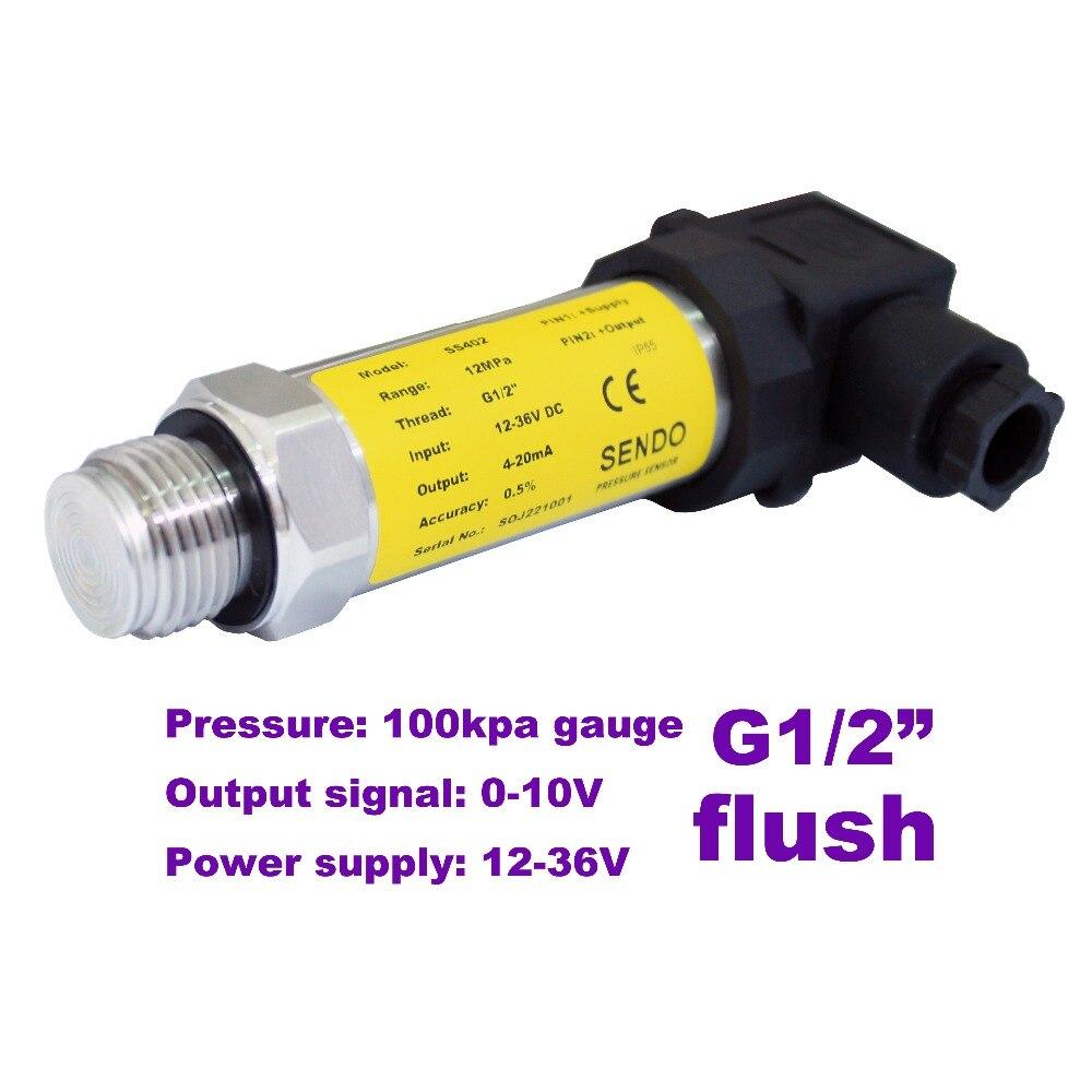 0-10V flush pressure sensor, 12-36V supply, 100kpa/1bar gauge, G1/2
