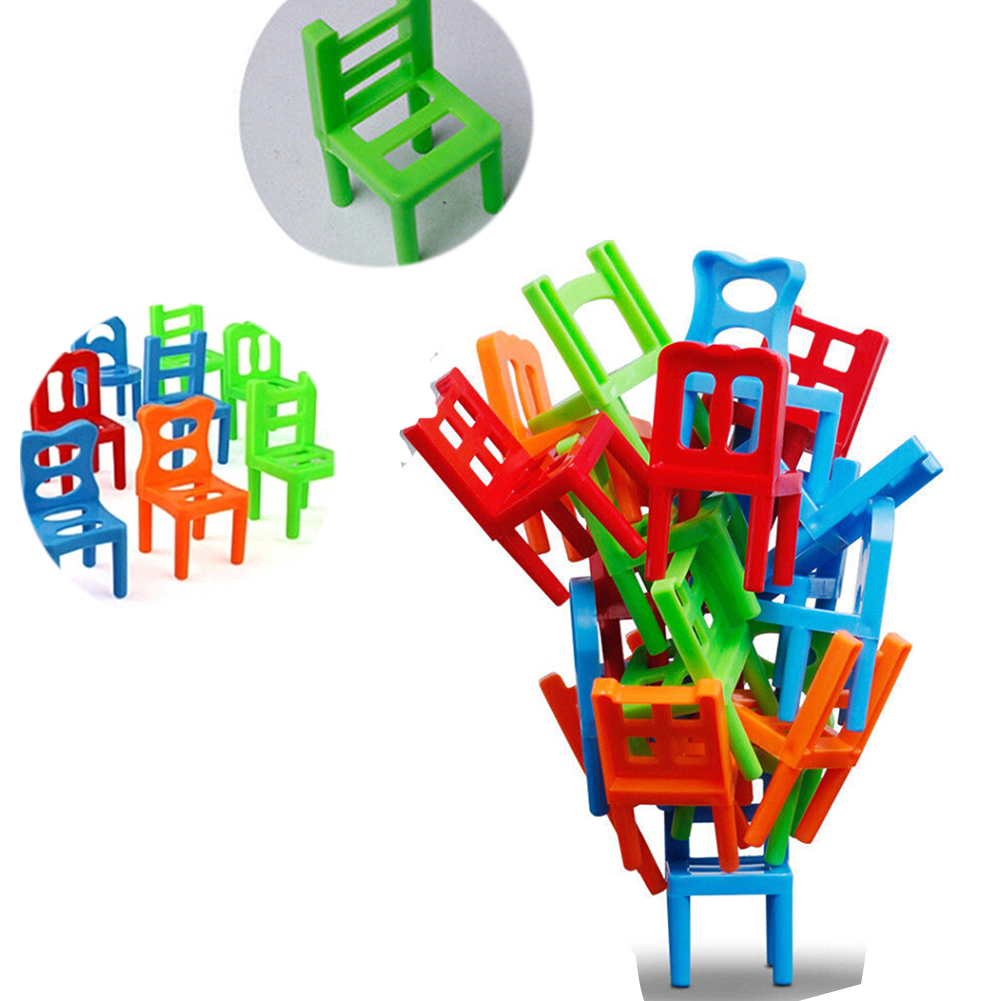 18Pcs/Set Kids Desk Puzzle Balancing Training Toys Balance Chairs Children Educational Balance Stacking Chairs Toys