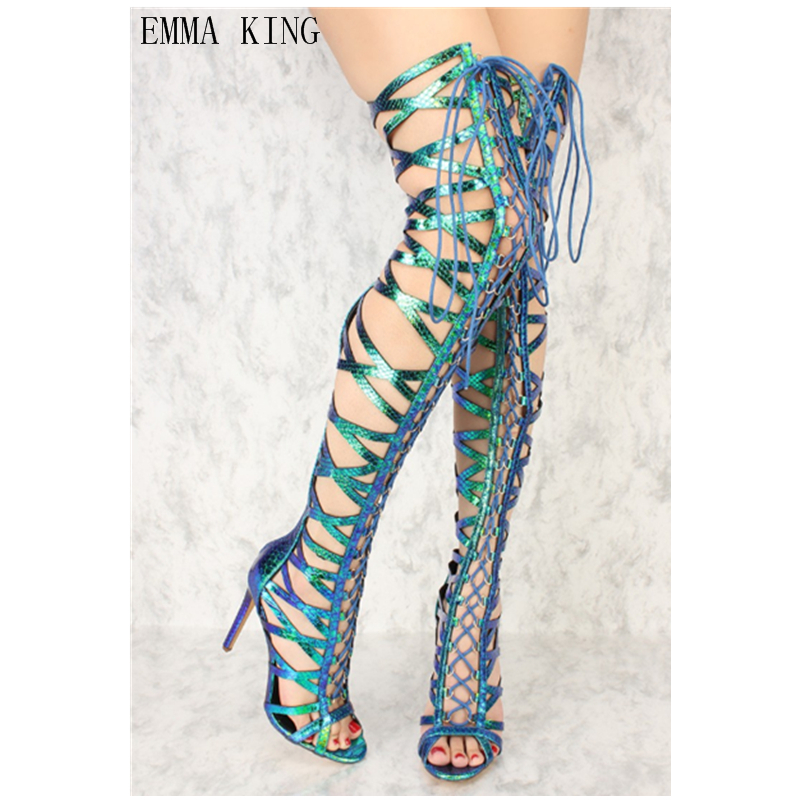 Emma King Women Summer Lace Up Thigh High Boots Stilettos Sexy Peep Toe Over The Knee Sandals Cross-tied Gladiator Party Shoes43