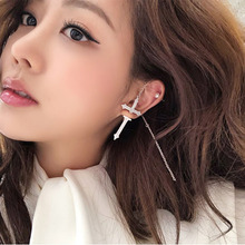 Cility Micro Inlaid Zircon Front And Rear Earrings Cross Tassel Single Drop Mothers Day Gift 2019 Luxury Accessories
