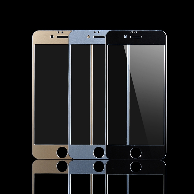 For Capinha iPhone 6 6S Aluminum Metal Full Frame Tempered Glass For ...