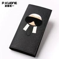 Brand Genuine Leather Women Clutch Wallets Luxury Famous Men Wallet Fashion Female Long Purse Unisex Wallet