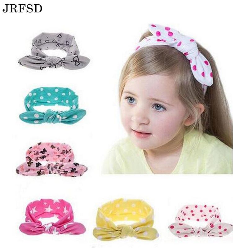 JRFSD 1PCS 2017 Fashion Dot Knot Headband Newborn Elastic Hair Bands kids Hair Accessories jrfsd cute solid color headband knot hair bands elasticity hairbands 100