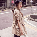 2017 Autumn new Korean long section of large size loose long-sleeved coat lapel women's fashion wild