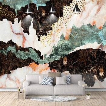 Wellyu moderno abstracto de oro de la montaña de mármol de televisión creativa pared personalizada gran Mural papel pintado verde papel de parede para quarto