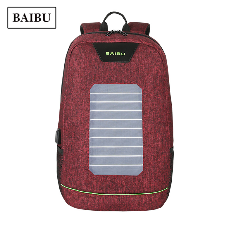 BAIBU Waterproof Oxford Travel Bag Pack Fashion Business Computer Laptop Backpack Men Solor USB Charge Large Capacity School Bag ozuko 14 inch laptop backpack large capacity waterproof men business computer bag oxford travel mochila school bag for teenagers