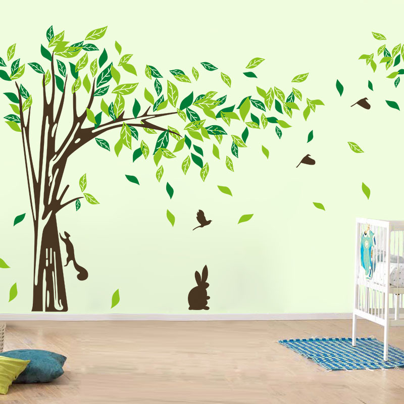 Large wall decal tree removable green wall decor living for Decor mural wall art