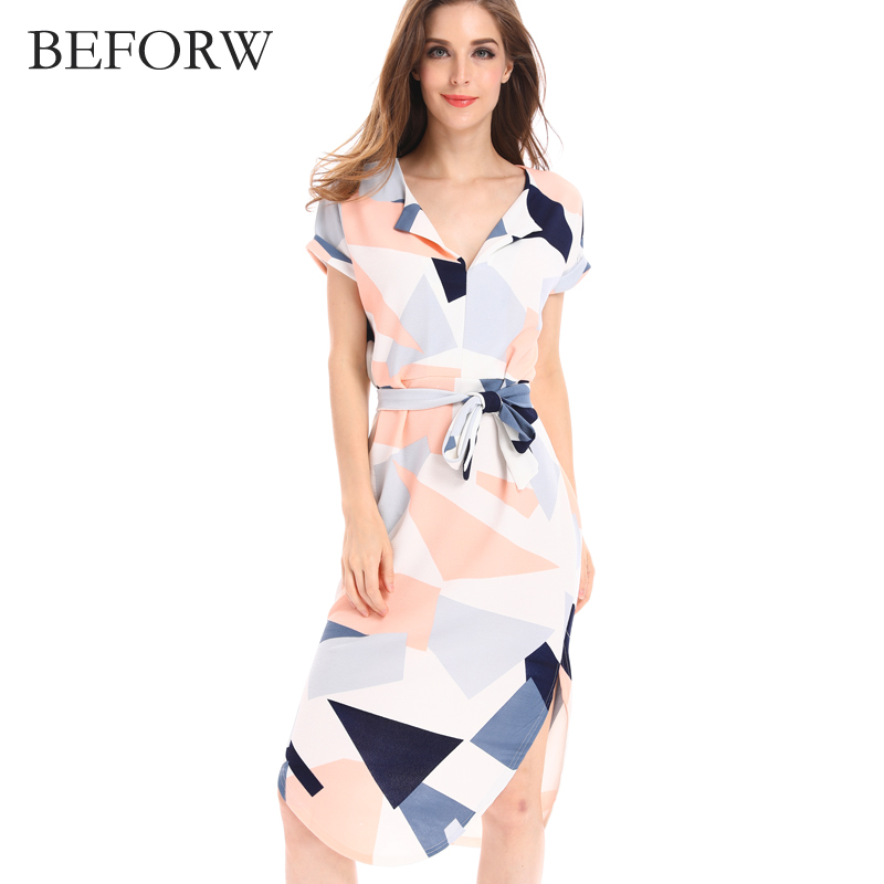 BEFORW Summer New Beach Skirt Sexy V Neck Pencil Skirt Fashion Geometric Pattern Comfortable Slim Large