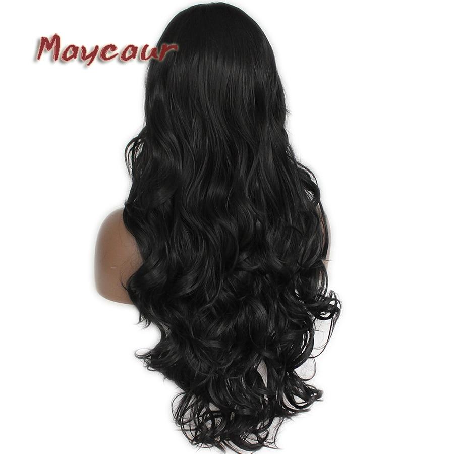 Glueless μαύρο μακρύ κυματιστό περούκα με - Συνθετικά μαλλιά - Φωτογραφία 6