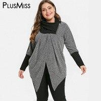 PlusMiss Plus Size 5XL L Vintage Split Knitted Sweater Women Jumper Winter Autumn 2018 Pullover Oversized Turtleneck Pull Femme