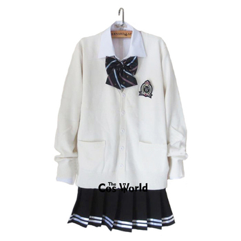 Preppy Style Student Class Uniform Japan JK High School Uniform Winter White V-Neck Cardigan Black Pleated Skirt Shirt Suits