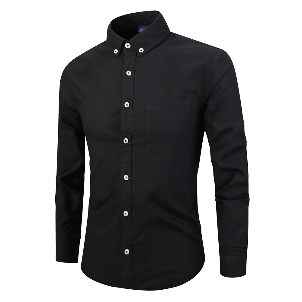 2019 Black Cotton Shirt Men 2019 Spring New Slim Fit Long Sleeve