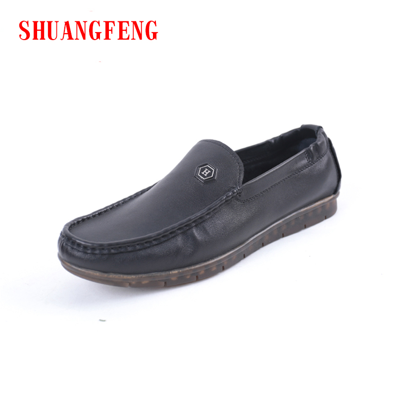 SHUANGFENG Brand Super Comfortable Soft Sole Genuine Leather Casual Men's Shoes Black Flat Loafers Men Shoes for Mans Footwear mycolen casual shoes men genuine leather shoes soft comfortable male footwear men s shoes brand black loafers mocassin homme