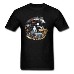 Camisa de algodão para homens de algodão preto camisetas famoso manga impressão tshirt verão novo