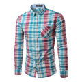 2016 New Brand Clothing Mens Dress Shirt Long Sleeve Cotton Male Casual Check Shirt Fashion Slim Masculina Camisa Asian Size 4XL