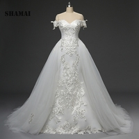 SHAMAI robe de mariage 2018 new wedding gowns off shoulder bride dress lace appliques luxury detachable skirt wedding dresses
