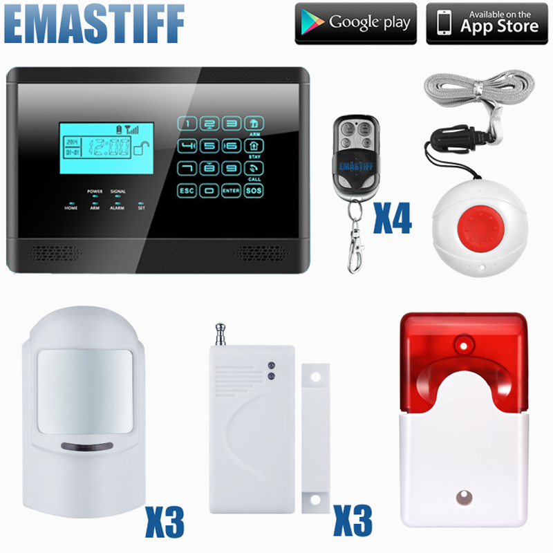 DHL Free Shipping!Flash Siren 100 Wired/wireless Defense Zones Gsm Sms Home Alarm System Door Sensor Kit free dhl 100