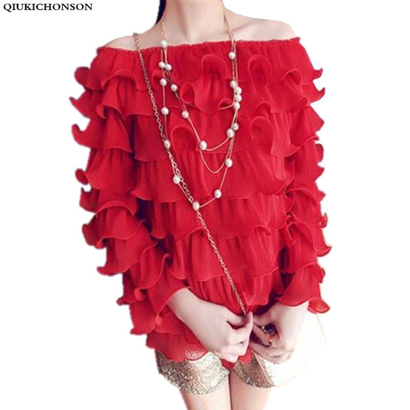 Femei topuri cămașă șifon manșon fluture bluză dulce din șifon doamne primăvara toamnă moda coreeană ruffle bluze umăr