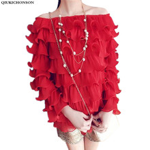 Spring Autumn Women Red Ruffle Blouse Off Shoulder Long Sleeve Ladies Tops camisa feminina