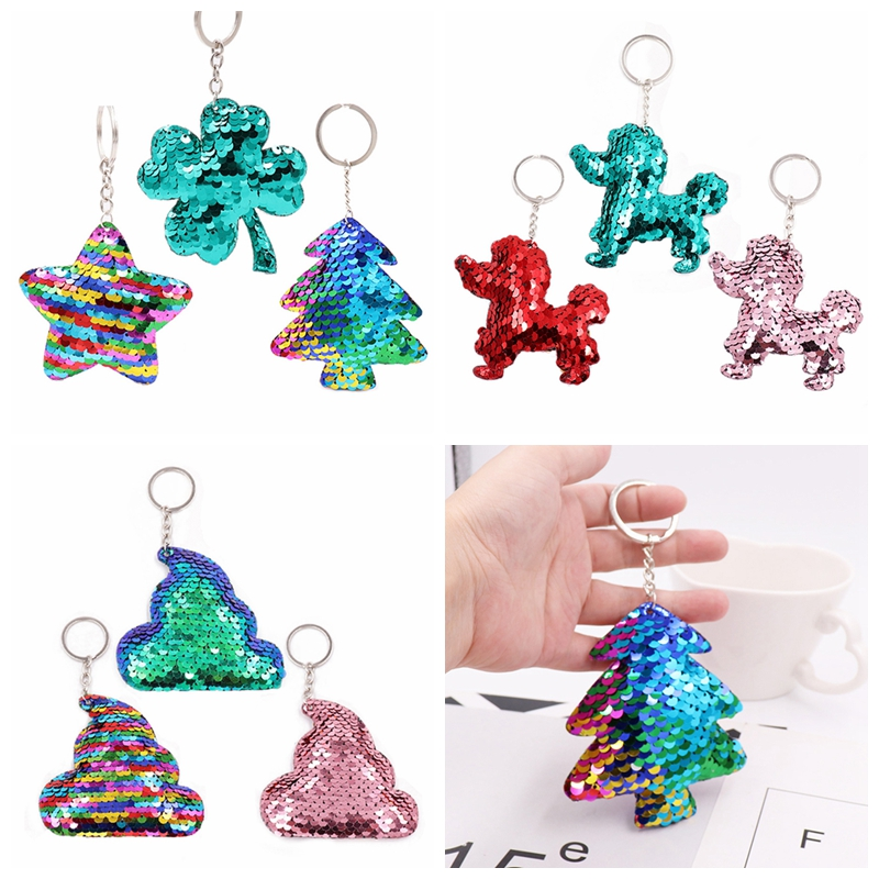 Open-Minded 1pcs Fashion Women Handbag Poo Dog Star Pendant Keyring Unisex Colorful Multi Glitter Sequin Key Chain Jewelry Luggage & Bags