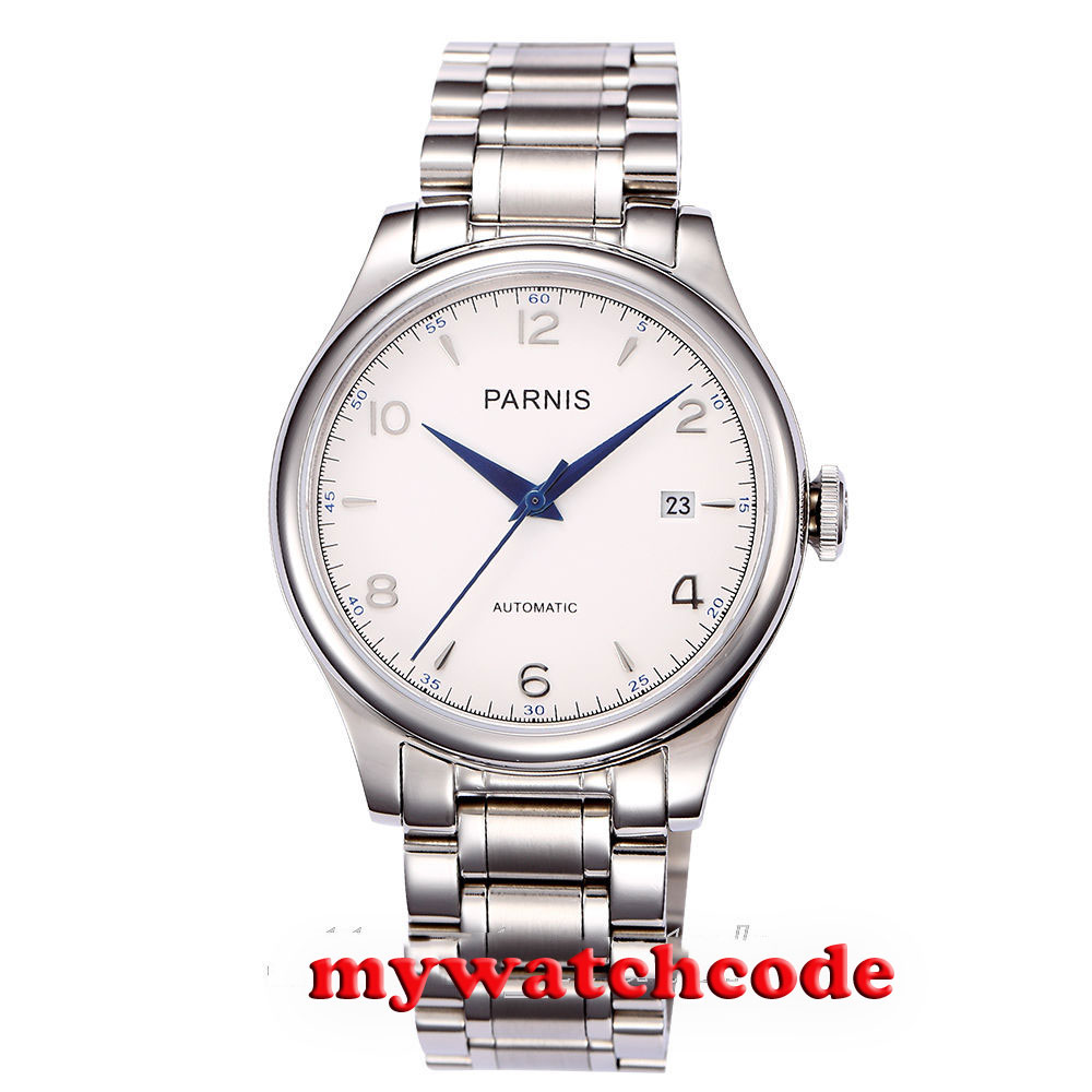 38mm Parnis white dial date Sapphire Glass miyota Automatic mens Watch P723 38mm parnis white dial date sapphire glass miyota automatic mens watch p723