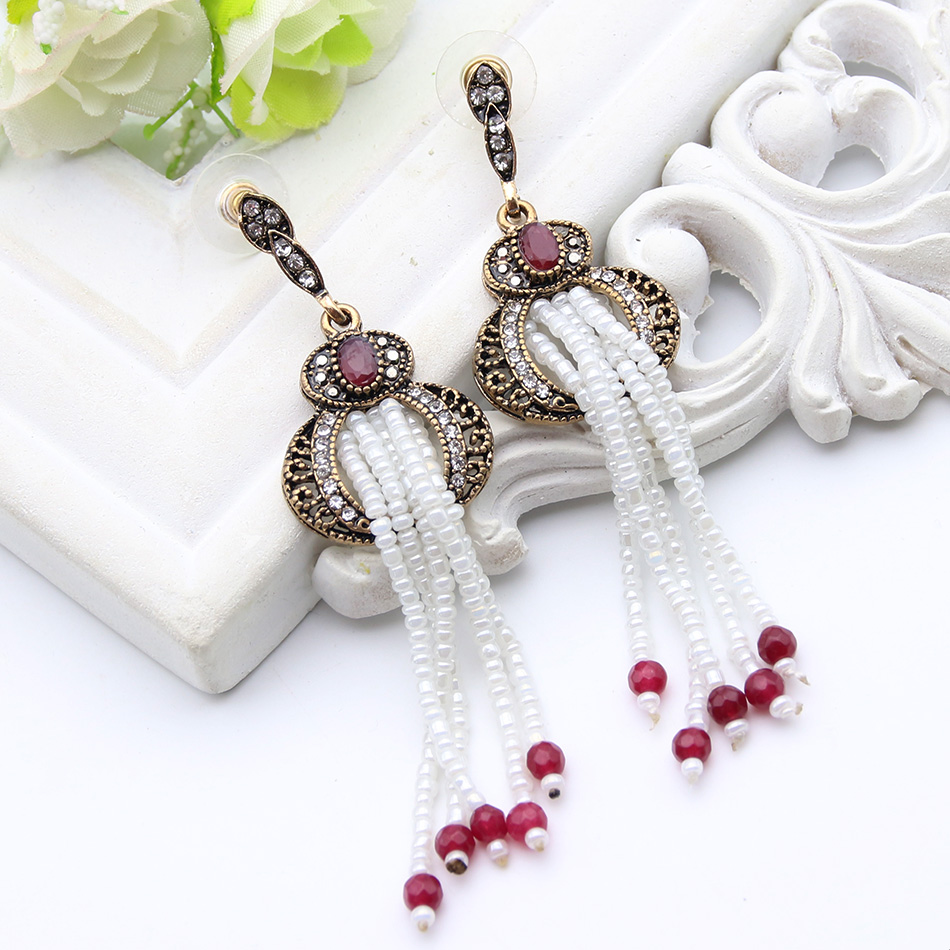 Turkish Lantern Design Beaded Turkish Earrings Ladies Imitation Pearl Gold Earring Plating Women Ethnic Festival Jewelry Gift