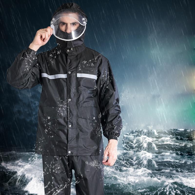 Saim 2019 imperméable pluie pantalon costume épais hommes Split imperméable Polyester imperméable adulte pêche imperméables pour équitation marche Moto