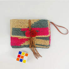 New Japanese Straw Bag Handmade Hit Color Grass Woven Red Beach Handbag With Pompom Tassels